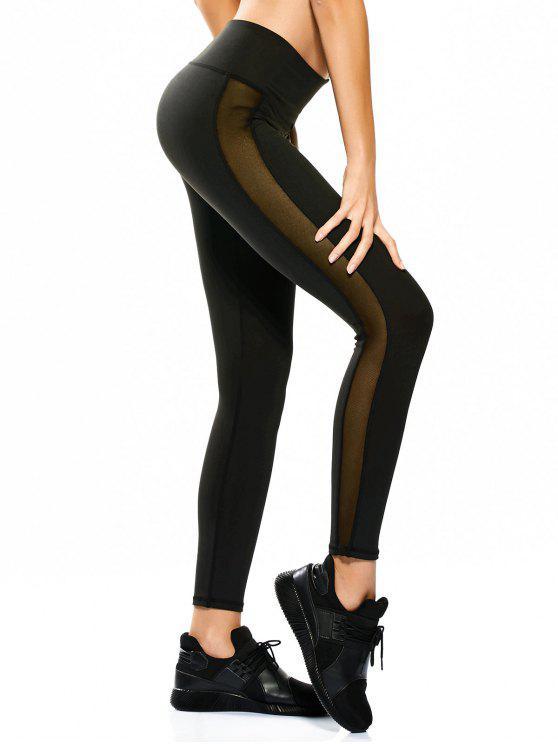 Pantalones flacos de malla deportiva Leggings deportivos - Negro L