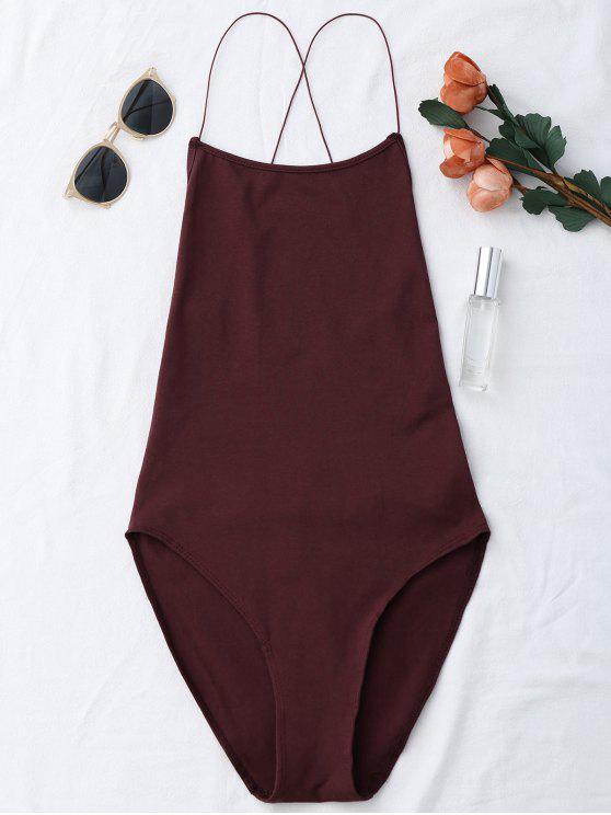Sin espalda Criss Cross Bodysuit - Vino Rojo Única Talla