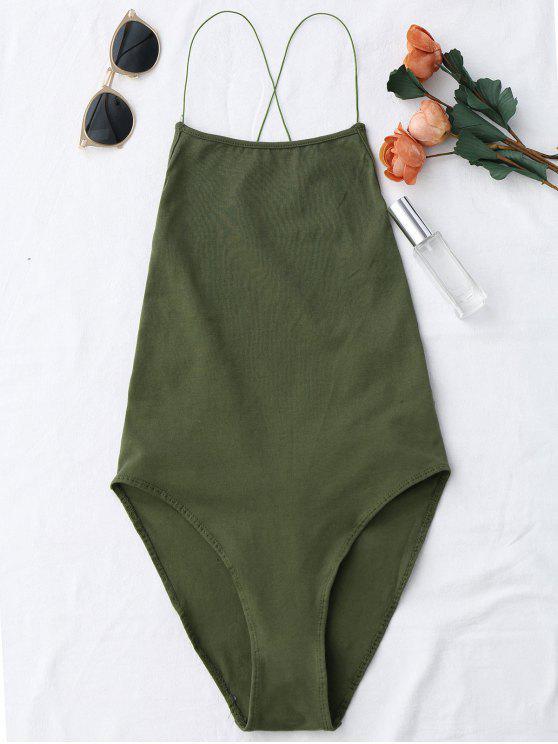 women Backless Criss Cross Bodysuit - ARMY GREEN ONE SIZE