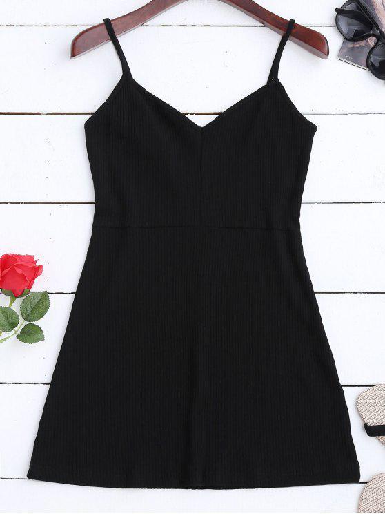 lady Bodycon Ribbed Cami Mini Dress - BLACK S