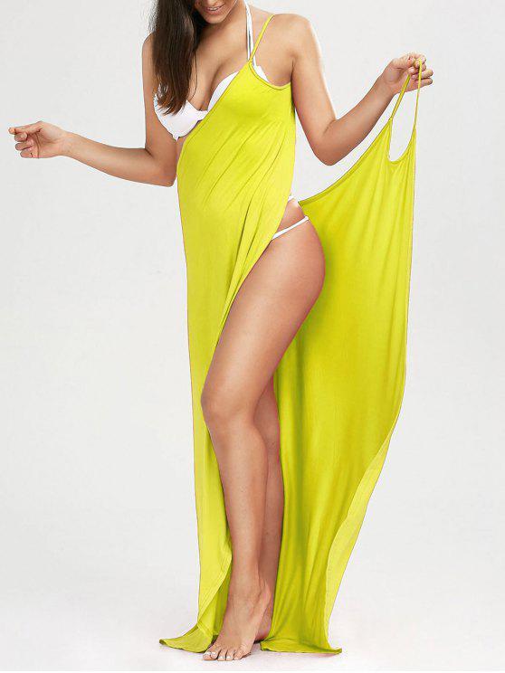 Maxi Vestido Encubierto de Playa con Tirantes Finos - Amarillo M