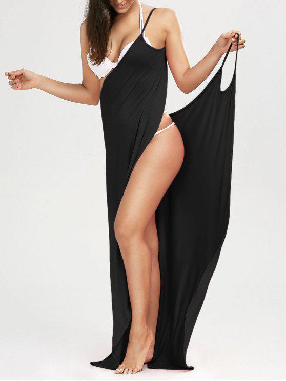 Maxi Vestido Encubierto de Playa con Tirantes Finos - Negro L