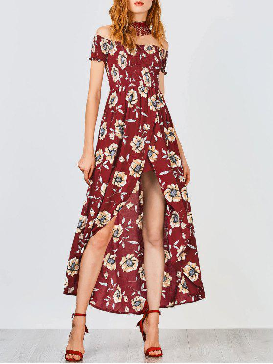 Floral Off Shoulder Shirred Asymmetric Maxi Dress - Burgundy S