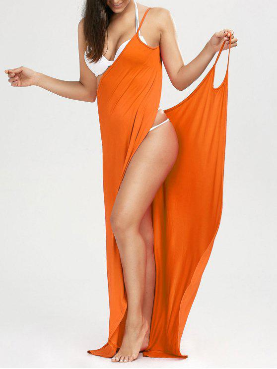 Maxi Vestido Encubierto de Playa con Tirantes Finos - rojo, naranja, L