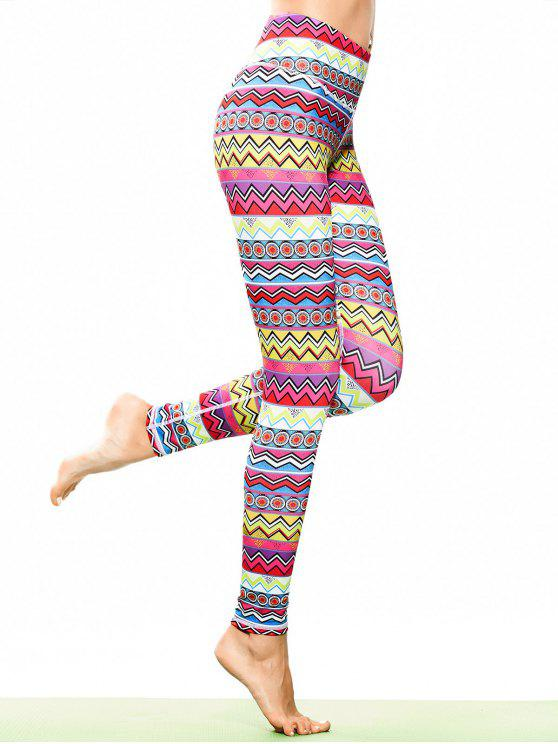 Skinny Tribal Print Sportliche Leggings - COLORMIX  S