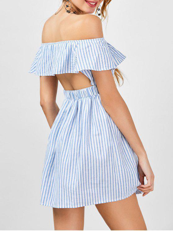 فستان بلا اكتاف قطع مخطط - شريط M