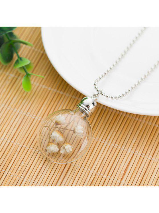 الزجاج الكرة الجافة قلادة قلادة الزهور - أبيض