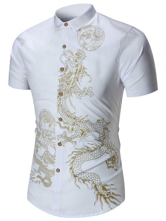 دراغون مطبوعة كم قصير قميص - أبيض 6XL
