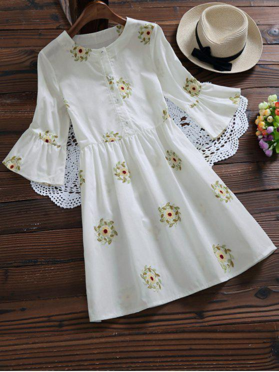 hot Floral Embroidered Flare Sleeve Dress - WHITE M