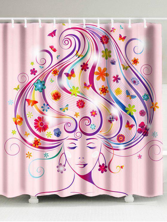 السحرية النساء طباعة ماء الحمام دش الستار - زهري W59 بوصة * L71 بوصة
