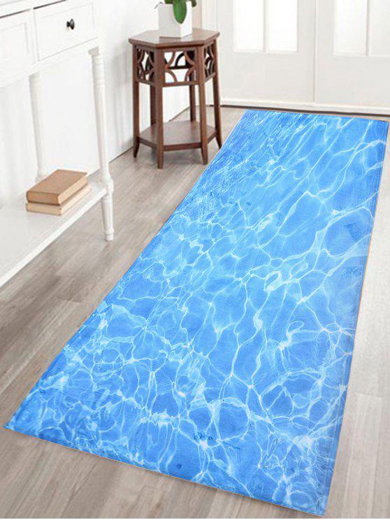 المياه موجة الطباعة الحمام سكيدبروف الحمام البساط - أزرق W16 بوصة * L47 بوصة