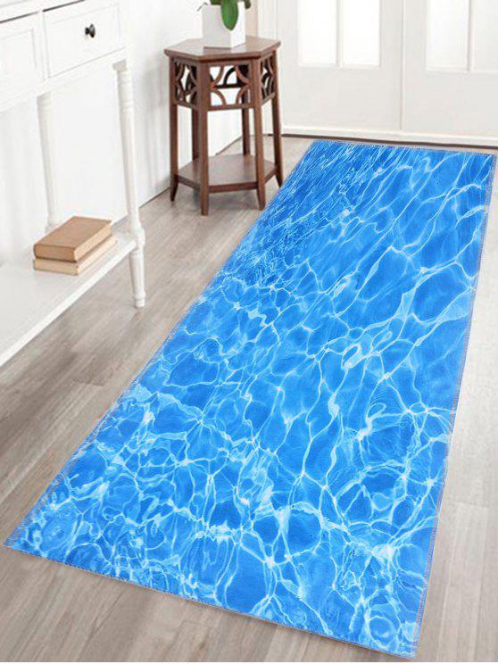 المياه موجة الطباعة حمام الحمام سكيدبروف البساط - أزرق Crystal Velvet W20INCH*L59INCH