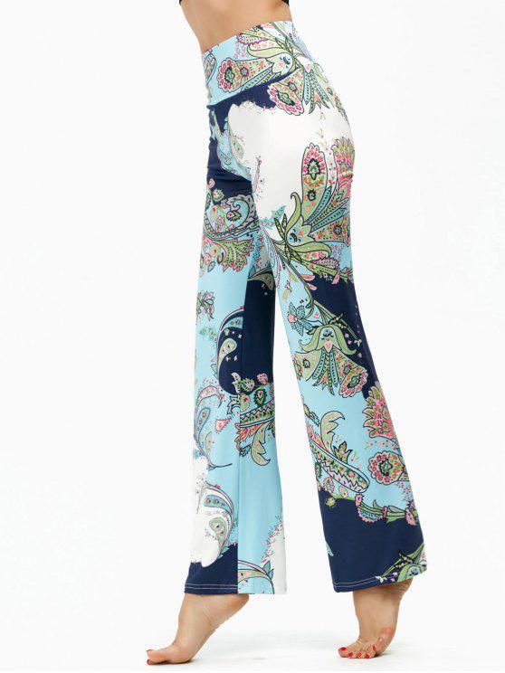 Böhmische Hose mit Ethnischem Druck und hoher Taille - Hellblau S