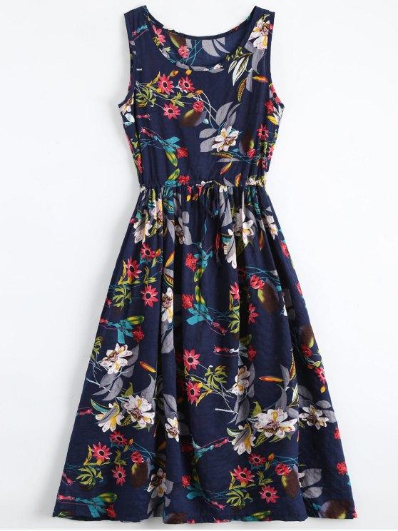 Blume-Druck Kordelzug ärmelloses Midi Kleid - Blumen S