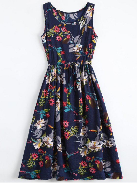 latest Floral Drawstring Sleevelss Midi Dress - FLORAL XL