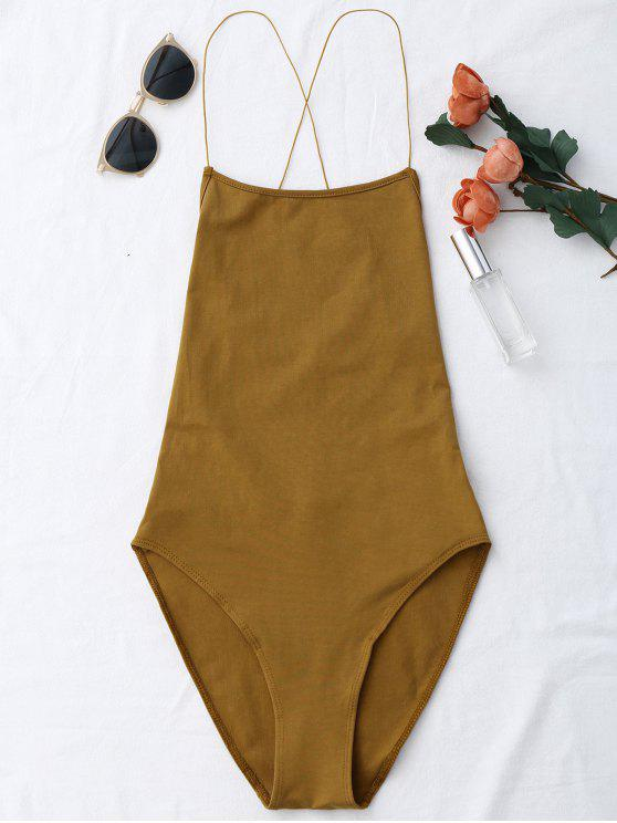 sale Backless Criss Cross Bodysuit - COFFEE ONE SIZE