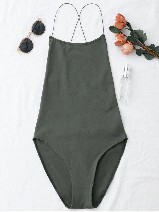 affordable Backless Criss Cross Bodysuit - GRAY ONE SIZE