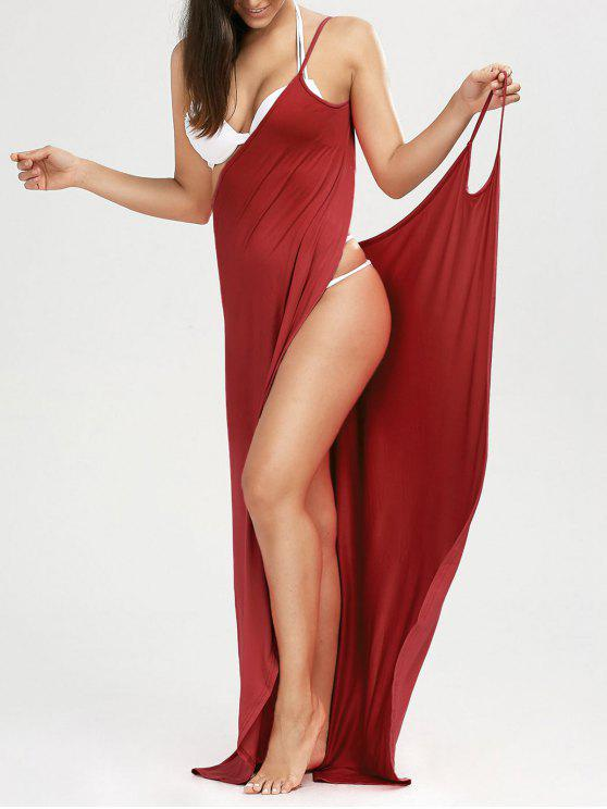 lady Beach Maxi Wrap Slip Dress - CLARET XL