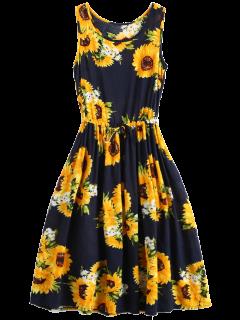 Sleeveless Drawstring Waist Sunflower Dress - Floral L