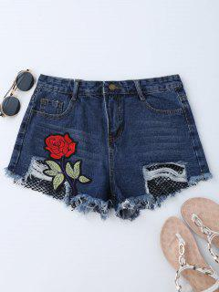 Mesh Panel Floral Embroidered Denim Shorts - Denim Blue M