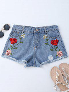 Bordados Ripped Cutoffs Denim Shorts - Denim Blue L
