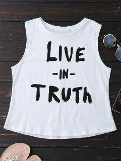 Cotton Letter Tank Top - White L