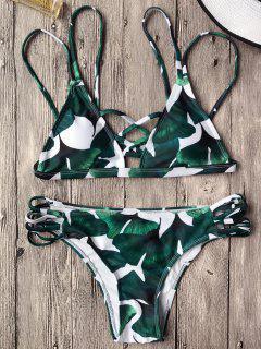 Ensemble En Bikini Imprimé Feuilles Bralette à Lacets  - Vert M
