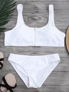 Zip Front Scoop Bikini Set - White S
