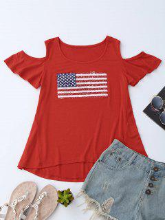 American Flag Sequins Cold Shoulder T-Shirt - Rouge M