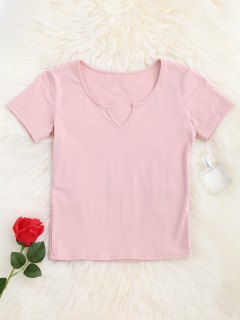 V Neck Cropped T-Shirt - Pink S