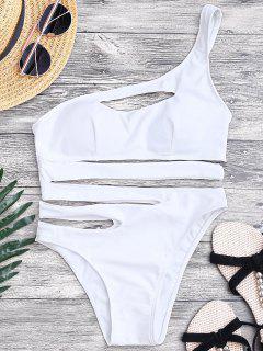 Bandage Asymmetric One Piece Monokini Swimsuit - White S