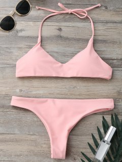 Padded Halter Thong Bathing Suit - Pink S