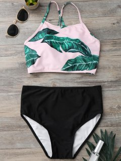 Back Strappy Leaf Print High Cut Bikini Set - Black L