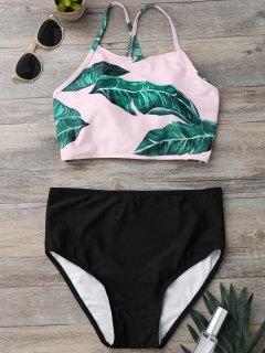 Traje De Bikini De Tirante En Espalda Con Estampado De Hoja Con Tiro Alto - Negro L