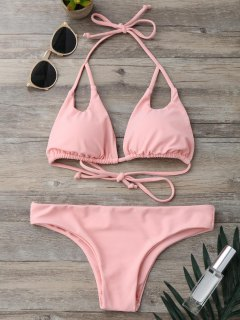 Cut Out Padded Halter Thong Bikini - Pink S