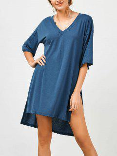 High Slit High Low Tunic Tee - Blue L