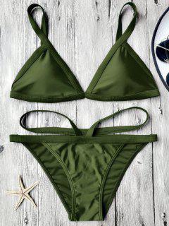 Padded V Strap Thong Bikini Set - Army Green M