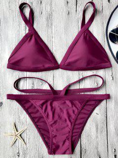 Traje De Bikini Con Thong Con Cordón En V Con Relleno - Merlot L