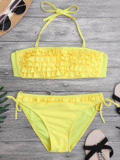 Ruffled Padded Bandeau Bikini - Yellow M