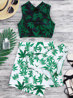 Weed Print Swimsuit And Cover Up Skirt - Green L