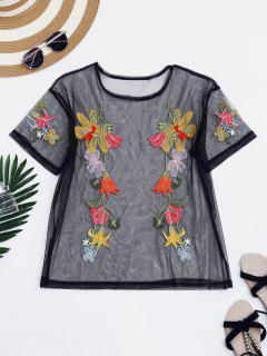 Floral Embroidered Mesh See Thru Top - Black S