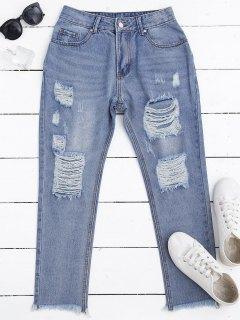 Zip Fly Frayed Hem Ripped Jeans - Denim Blue L