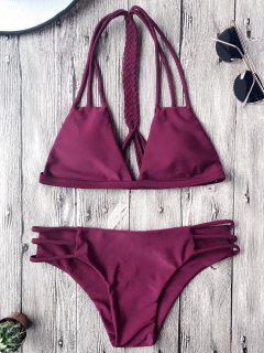 Macrame T Back Strappy Bikini Set - Merlot L