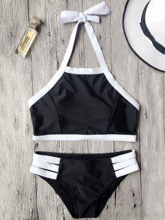 Kontrast Piping High Neck Bikini Set - Schwarz S
