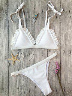 Rib Textured Frilled String Bikini Set - White M