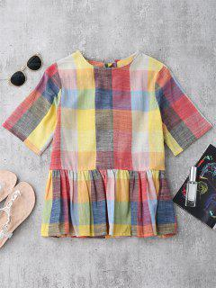 Ruffles Bowknot Checked Top - Checked L
