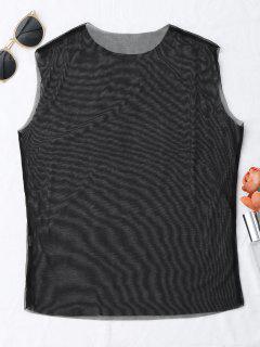 Camiseta Sin Mangas Con Revestimiento De Malla - Negro S
