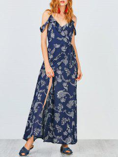 Cold Shoulder Paisley Ruffles Maxi Wrap Dress - Purplish Blue S