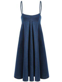 Casual Denim Suspender Dress - Denim Blue L
