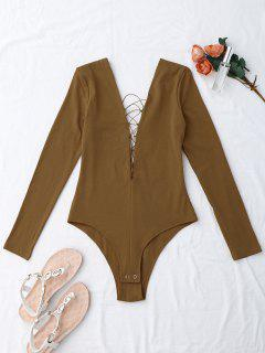 Long Sleeve Skinny Lace Up Bodysuit - Coffee S